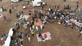 מחאה נגד הקמת תחנת הכח בקסם